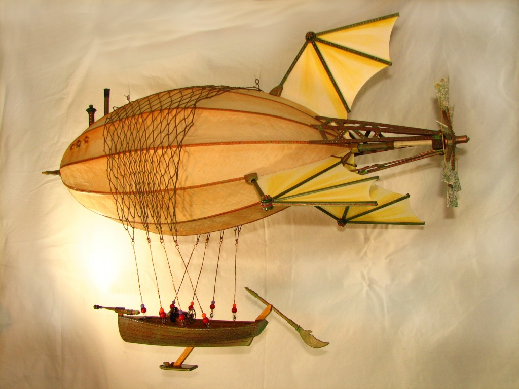 "Photo of Victorian style steampunk airship sculpture Anastasia,  36"" long, (Maki size)."