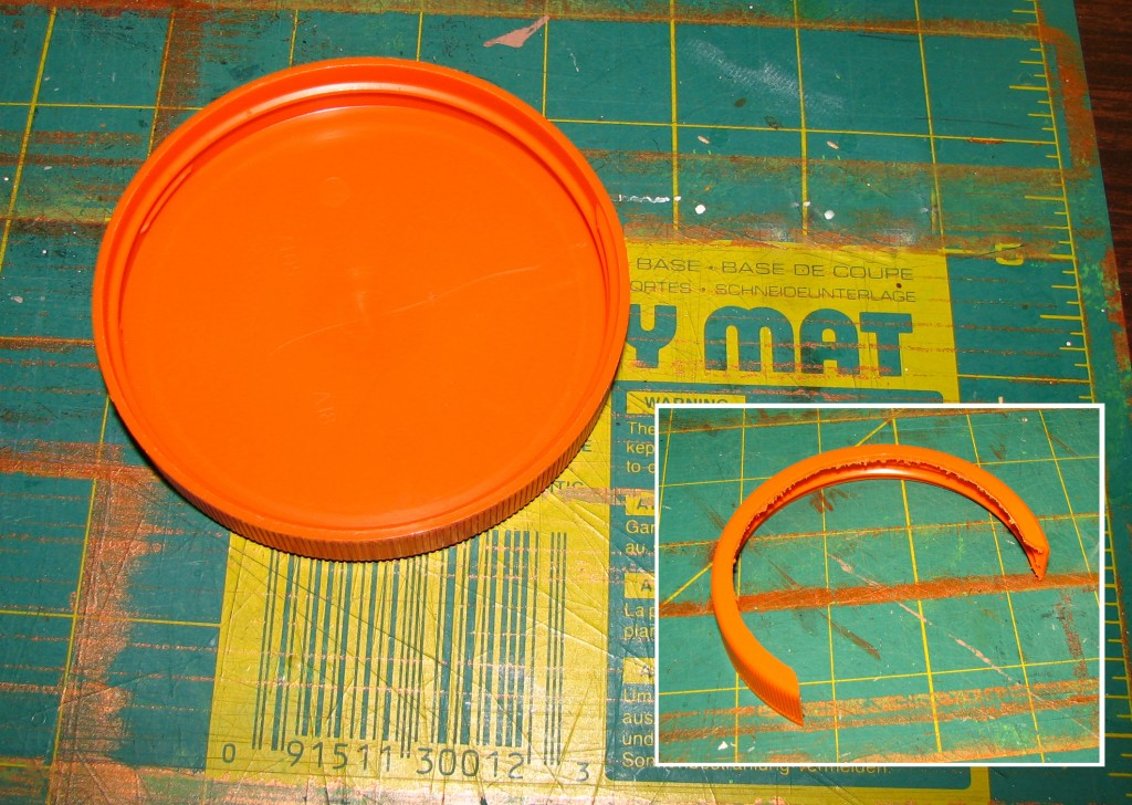Jar lid cut for deer ear