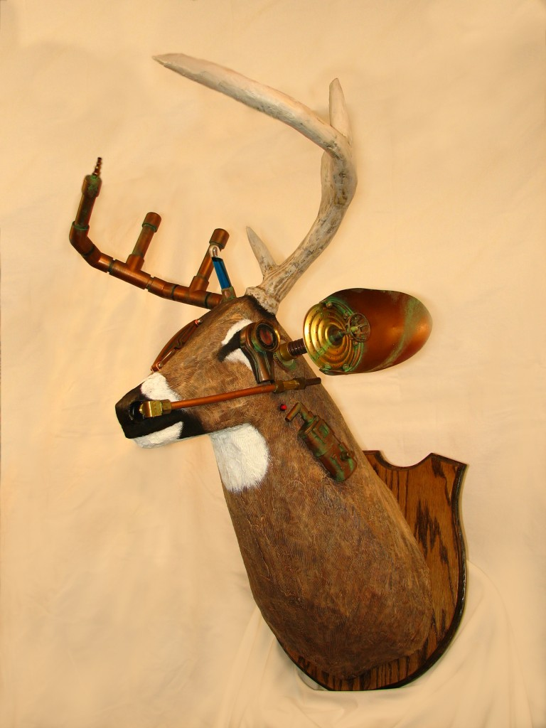 Finished steampunk deer head mount