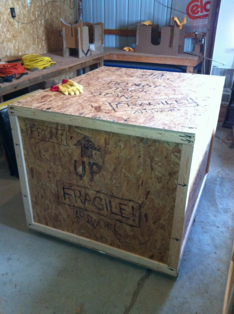 Sealed crate containing the Victorian airship...labeled and ready for shipping!