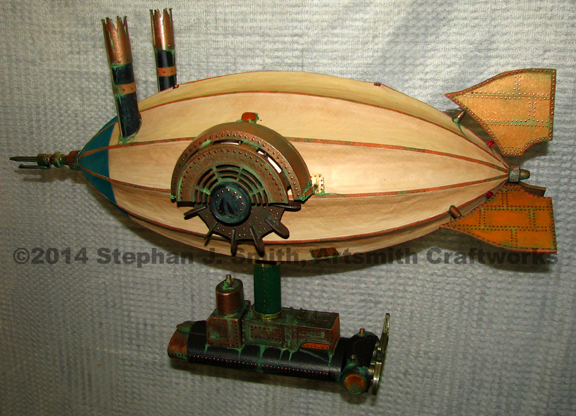 Mid-sized steampunk paddlewheel airship