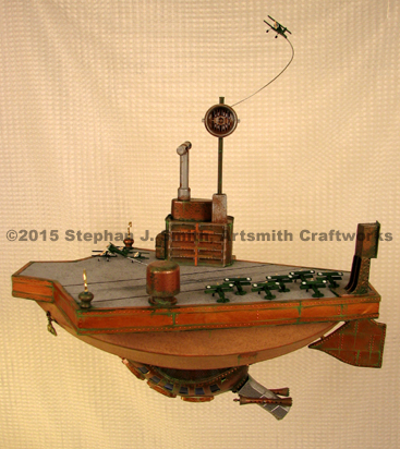 Photo of a steampunk aircraft carrier airship by Stephan J Smith of Artsmith Craftworks.