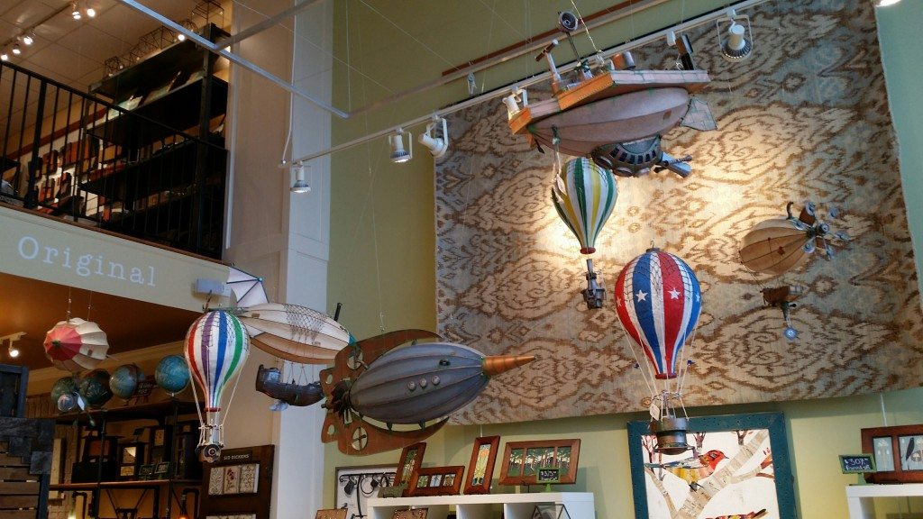 Photo of steampunk airships and hot air balloons at The Artisan's Bench, built by Stephan J Smith.