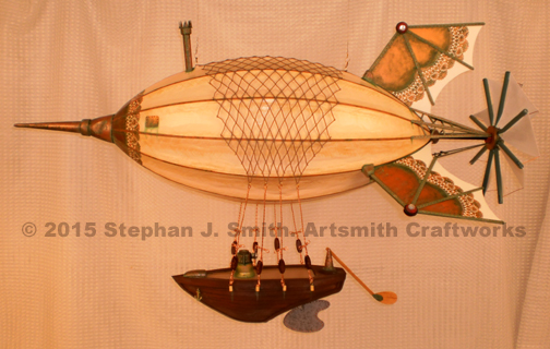 Photo of Maki size medium Victorian Steampunk Airship by Stephan J. Smith of Artsmith Craftworks.