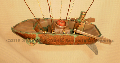 Closeup photo of Hotrod steampunk airship gondola.