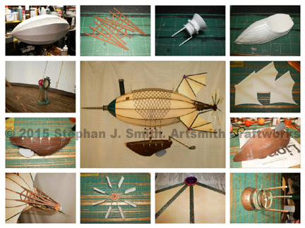 Photo montage of a Victorian steampunk airship by Stephan J Smith of Artsmith Craftworks. Commissioned by Big Works, Inc.