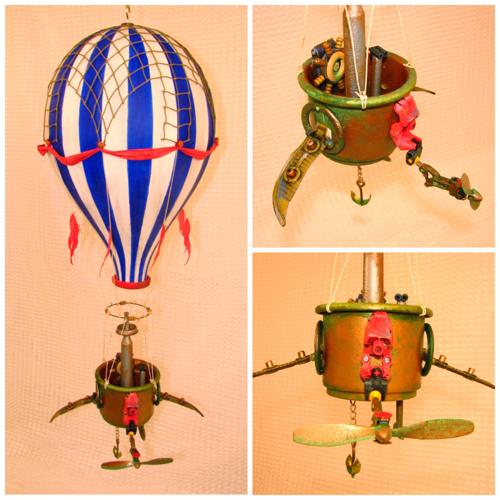 Collage photo of a commissioned blue and white steampunk hot air balloon with red banners and flags.