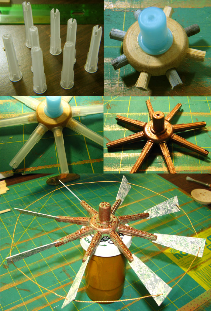 Photo montage of the construction of a steampunk airship sculpture propeller, made of random found objects.
