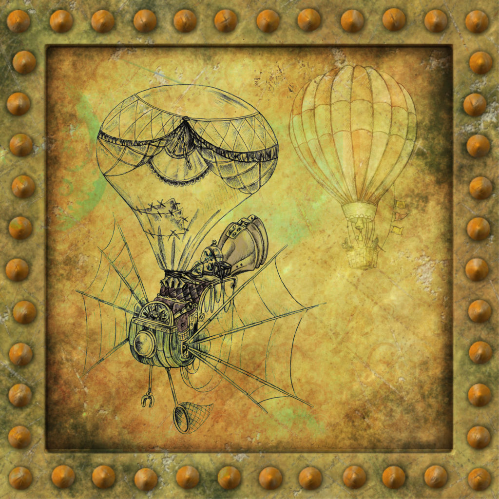 Image of a rusty, riveted metal frame with two steampunk hot air balloons within it.
